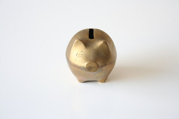 Small Brass Piggy Bank