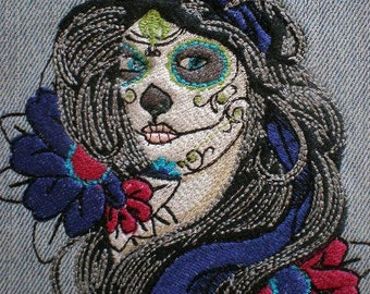 Embroidered Skull Face Applique Patch, Day of the Dead, Mexico, Dia De Los Muertos, Gothic, Biker, Military on Denim and Fringed