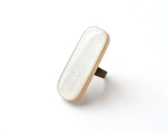 White long wood ring.  statement ring. statement jewelry . white jewelry.  adjustable ring. eco friendly. Starlight woods.