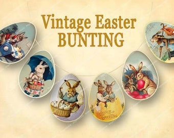 VINTAGE EASTER BUNTING  printable easter party banner bunnies easter eggs pennant flags Magentabelle download 134