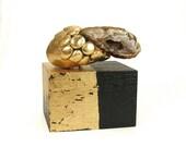 Abstract Art Sculpture - Strategy / Gift, Gold, Home Decor, Desk Decor, Sculpture, Semi Precious Stone