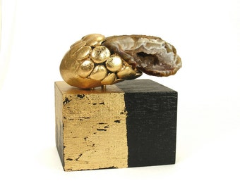 Abstract Art Sculpture - Strategy / Gift, Gold, Home Decor, Desk Decor, Sculpture, Semi Precious Stone