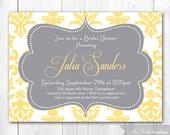 Damask Bridal Shower Invitation - Yellow & Gray Bridal Shower Invitation. Printable Bridal Shower Invite or Baby Shower Invitation.