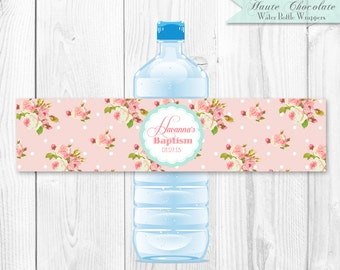 Vintage Shabby Chic Water Bottle Labels. DIY Printable Water Bottle Wrappers.
