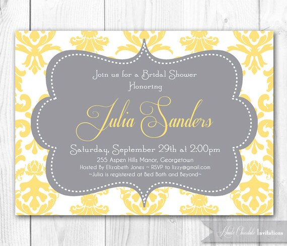 damask bridal shower invitation yellow  by hautechocolatefavors, Baby shower invitations