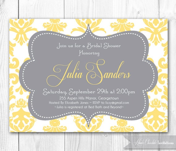 Damask Bridal Shower Invitation - Yellow & Gray Bridal Shower Invitation. Printable Bridal Shower Invite or Baby Shower Invitation.