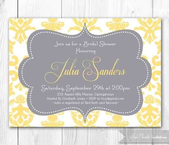Items similar to damask bridal shower invitation yellow for Yellow bridal shower invitations
