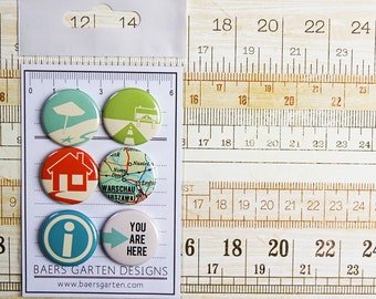 """Badges / Adhesive buttons """"Away we go"""" travel  scrapbooking vacation flair road  trip"""