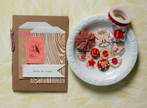 """SALE One of a kind - Handbound journal & mini kit """"Little Kraft Girl"""" - Daybook -red - pink - girl - lace washi tape"""