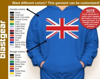 Union Jack United Kingdom hooded sweatshirt — Any color/Any size - Adult S, M, L, XL, 2XL, 3XL, 4XL, 5XL  Youth S, M, L, XL