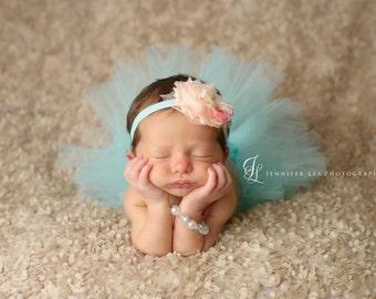 Tutu and Headband Set - Aqua - Peachy Keen  -  Luxe Tutu and Headband - Newborn Tutu - Girls Infant Baby Child Toddler Tutu