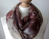 Ornamental floral  Infinity scarf, feminine chiffon scarf, wine brown loop scarf, circle scarf, gift under 20 dollars, spring fashion