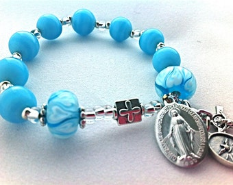 Rosary Bracelet Miraculous Medal Turquoise