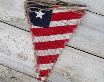 4th of July Patriotic Burlap Banner / Memorial Day / Veteran's Day / American Flag / Red White & Blue