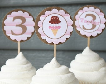 ICE CREAM SHOPPE Themed Happy Birthday or Baby Shower Cupcake Toppers 12 One Dozen - Party Packs Available