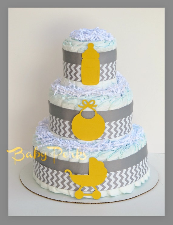 Items similar to modern yellow and gray chevron baby shower grey and yellow diaper cake baby - Baby shower chevron decorations ...