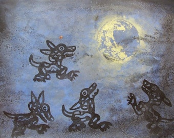 Art Sele Blue painting modern decor Black Aztec dogs with Moon original art mixed media recycled paper home office art