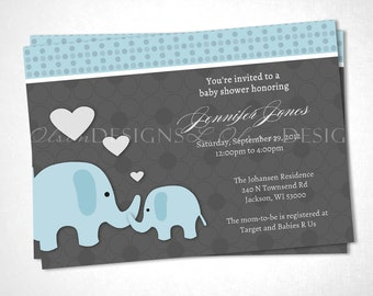Loving Elephants Baby Shower Invitation - Blue - DIY Printable
