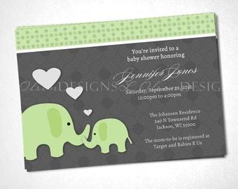Loving Elephants Baby Shower Invitation - Green - DIY Printable