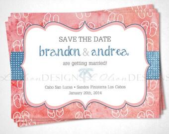 Flip Flops Save the Date Destination Wedding - Coral - DIY Printable