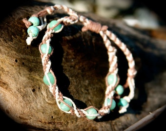 Adjustable Amazonite Two-Toned Spiral Bracelet/Anklet with Turquoise dangles
