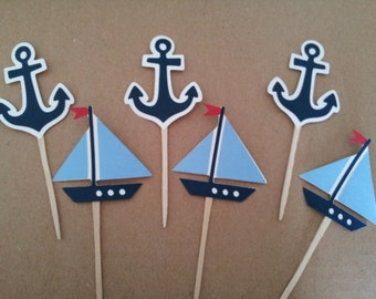 12 Nautical cupcake picks/toppers