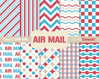 60% OFF SALE Scrapbook Papers, Digital Scrapbooking, Postal Digital Paper, Mail Digital Papers, Air Mail Papers, Postage Patterns
