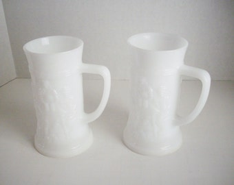 Vintage Milk Glass Beer Stein Mug Relief Glass Pub Scene Set of 2