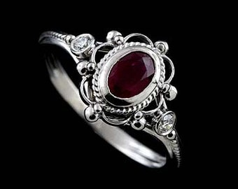Victorian Engagement Ring, Oval Ruby Diamond Ring, Twisted Swirl Design Ring, Open Filigree Anniversary Ring, Bezel Set Solid 14K Gold Ring