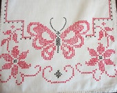 Vintage Runner with Embroidered Butterflies - Red Black Cross Stitch - Shabby Chic