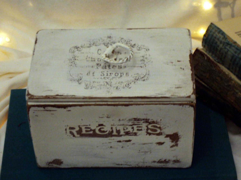 shabby chic distressed white wood recipe box
