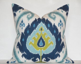IKAT-  EURO SHAM . Square . Lumbar - Decorative Pillow Cover / Blue / Chartreuse / Throw Pillow / Accent Pillow