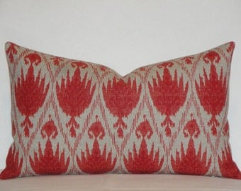 Decorative Pillow Cover  / IKAT / Coral Red / Throw Pillow / Accent Pillow / Geranium