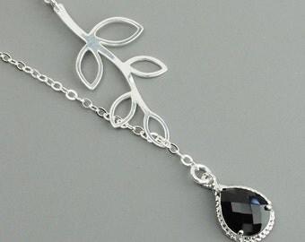 Sterling Silver Leaf Necklace - Silver Black Pendant Lariat Necklace - Black Bridesmaid Necklace - Bridesmaid Jewelry