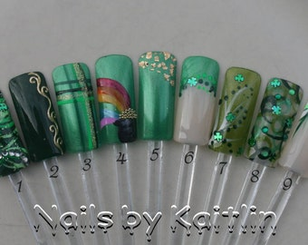 Wearin' Of The Green Artificial Nail Art