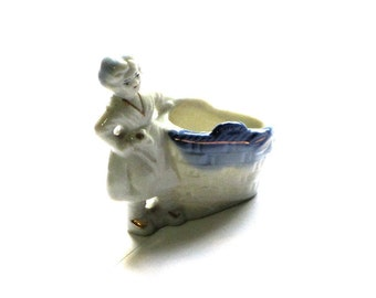 Occupied Japan Miniature Porcelain Woman Ring Dish Blue and Gold Figurine Mid Century Curio Collectible