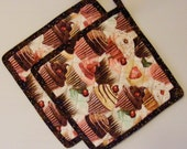 Quilted Potholder Set Cupcake Pink Brown Mint Green