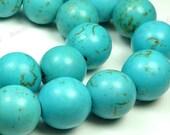 14mm Blue Magnesite Matrix Round Gemstone Beads - 15.5 Inch Strand - BC4