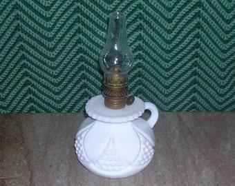 Antique Miniture Pressed Milk Glass Kerosene Finger Lamp