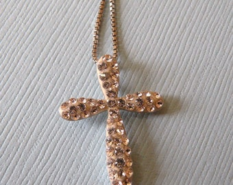 Sterling Silver Cross with CZs and Chain