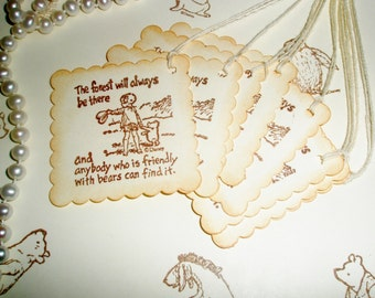 Winnie the Pooh favor gift tags-Wedding favor tags-Christopher Robin-Pooh theme-Baby shower