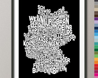 Typography Text Map of Germany Map, Art Print (279) - colour options
