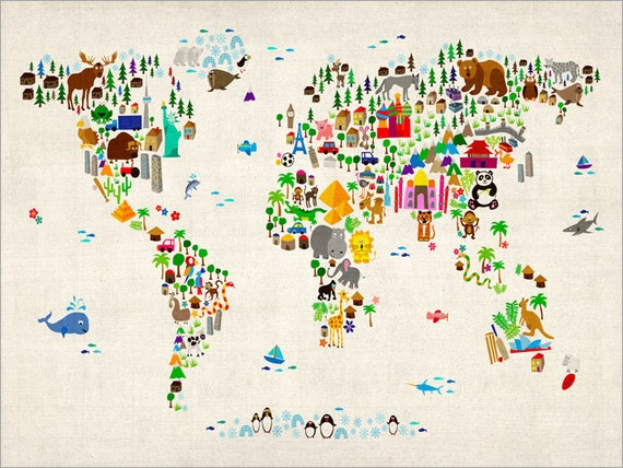 Animal Map of the World Map for children and kids, Art Print, 24x36 inch (60)