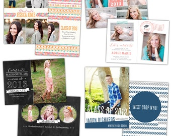 INSTANT DOWNLOAD - Graduation announcement - Photoshop Templates - E782