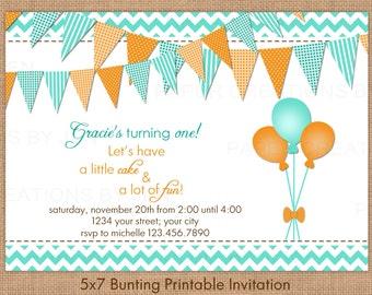 5x7 Printable bunting birthday invitation
