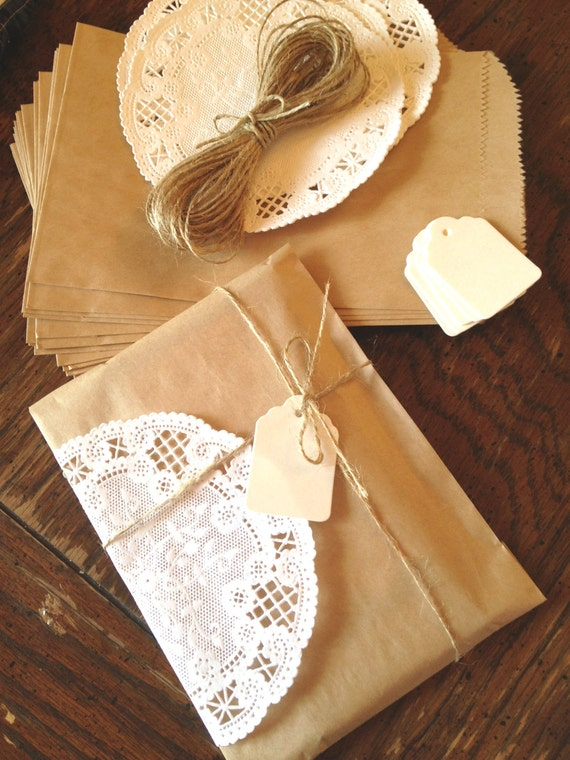 items similar to gift wrap kit diy kraft paper bags french doilies twine tags set 25 of. Black Bedroom Furniture Sets. Home Design Ideas