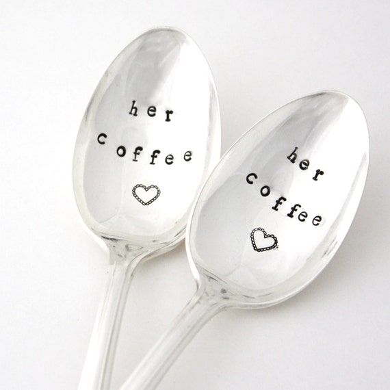 Her Coffee spoon set.  Stamped flatware for engagement, newlyweds or wedding gift. By MilkandHoneyLuxuries