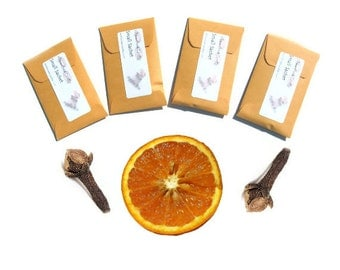 Orange Clove Scented Sachets Drawer Freshener Room Fragrance Unique Candle Party Favors Autumn Rustic Wedding Favors Fall Decor