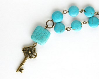 Turquoise Blue Necklace, Skeleton Key Charm, Key necklace, Southwestern jewelry, Turquoise Blue Magnesite, Brass Jewelry, Gift for her