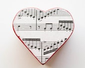 Hearts & Music Red Box - wooden heart box decoupaged with sheet music